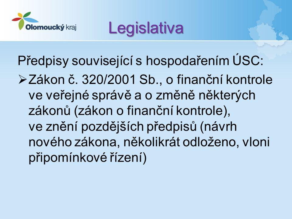 Legislativa Předpisy související s hospodařením ÚSC:  Zákon č.