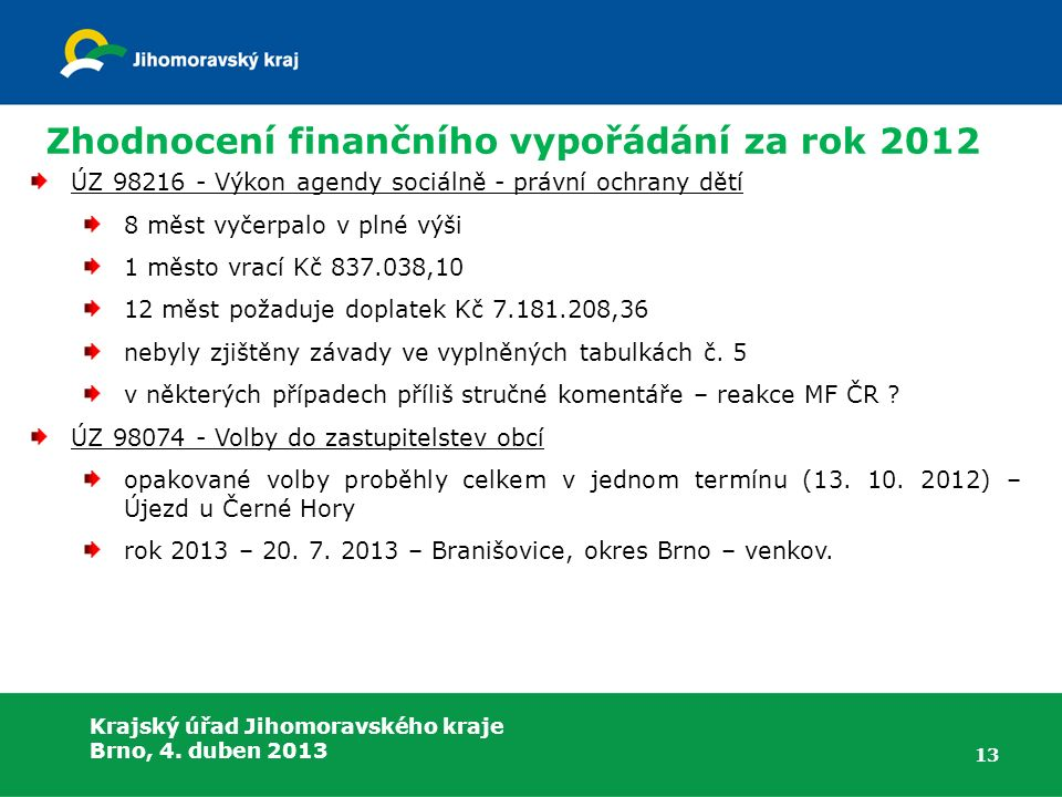 Krajský úřad Jihomoravského kraje Brno, 4. duben 2013 Zhodnocení finančního vypořádání za rok 2012 ÚZ 98216 - Výkon agendy sociálně - právní ochrany d