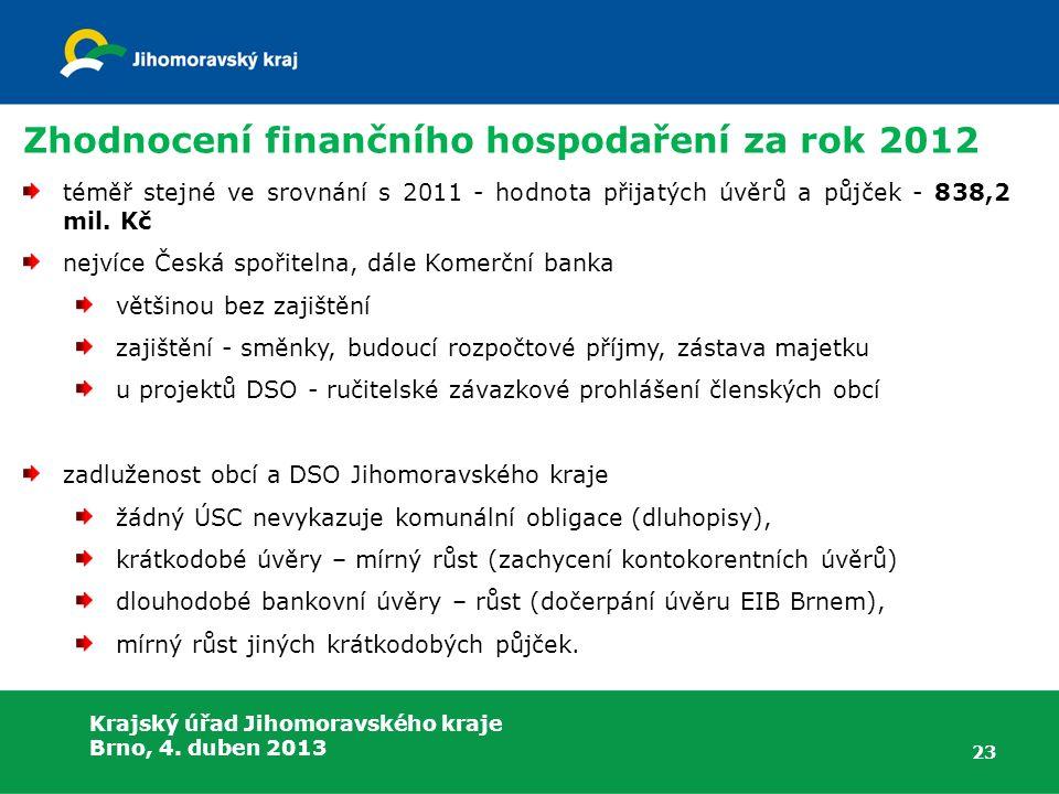 Krajský úřad Jihomoravského kraje Brno, 4. duben 2013 Zhodnocení finančního hospodaření za rok 2012 téměř stejné ve srovnání s 2011 - hodnota přijatýc