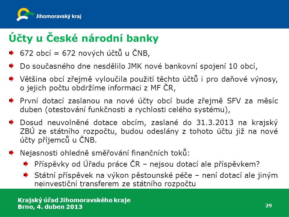 Účty u České národní banky 672 obcí = 672 nových účtů u ČNB, Do současného dne nesdělilo JMK nové bankovní spojení 10 obcí, Většina obcí zřejmě vylouč