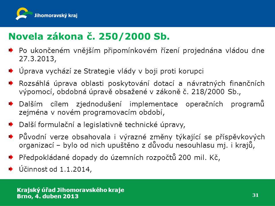 Novela zákona č. 250/2000 Sb. Po ukončeném vnějším připomínkovém řízení projednána vládou dne 27.3.2013, Úprava vychází ze Strategie vlády v boji prot