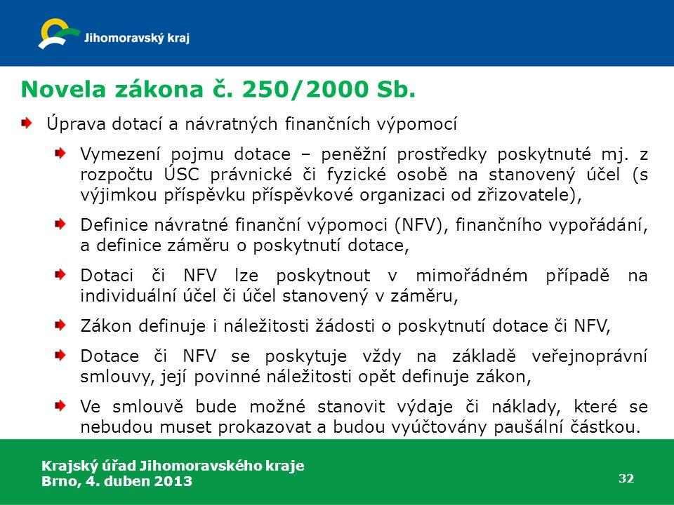 Novela zákona č. 250/2000 Sb. Úprava dotací a návratných finančních výpomocí Vymezení pojmu dotace – peněžní prostředky poskytnuté mj. z rozpočtu ÚSC