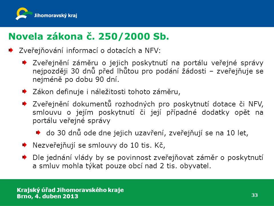 Novela zákona č. 250/2000 Sb. Zveřejňování informací o dotacích a NFV: Zveřejnění záměru o jejich poskytnutí na portálu veřejné správy nejpozději 30 d
