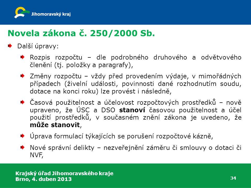 Novela zákona č. 250/2000 Sb. Další úpravy: Rozpis rozpočtu – dle podrobného druhového a odvětvového členění (tj. položky a paragrafy), Změny rozpočtu