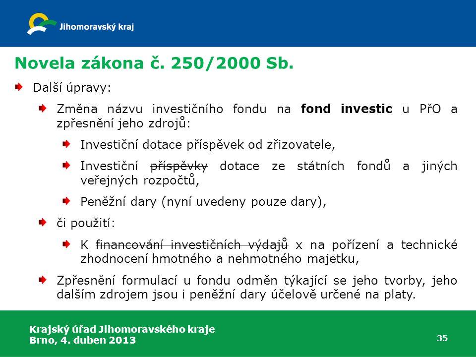 Novela zákona č. 250/2000 Sb. Další úpravy: Změna názvu investičního fondu na fond investic u PřO a zpřesnění jeho zdrojů: Investiční dotace příspěvek