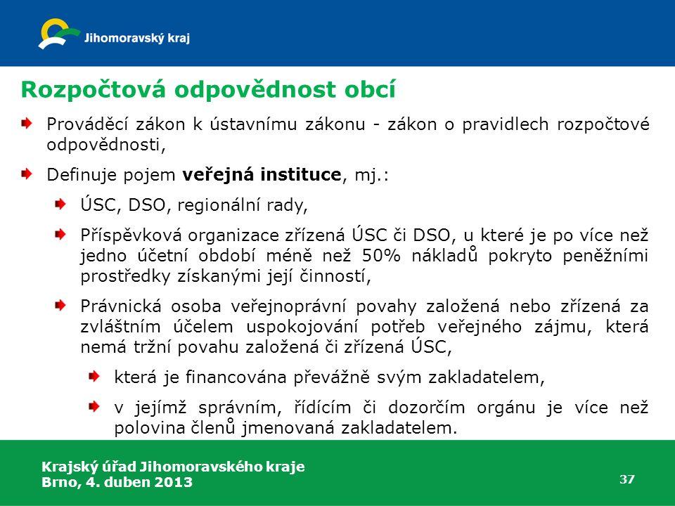 Rozpočtová odpovědnost obcí Prováděcí zákon k ústavnímu zákonu - zákon o pravidlech rozpočtové odpovědnosti, Definuje pojem veřejná instituce, mj.: ÚS
