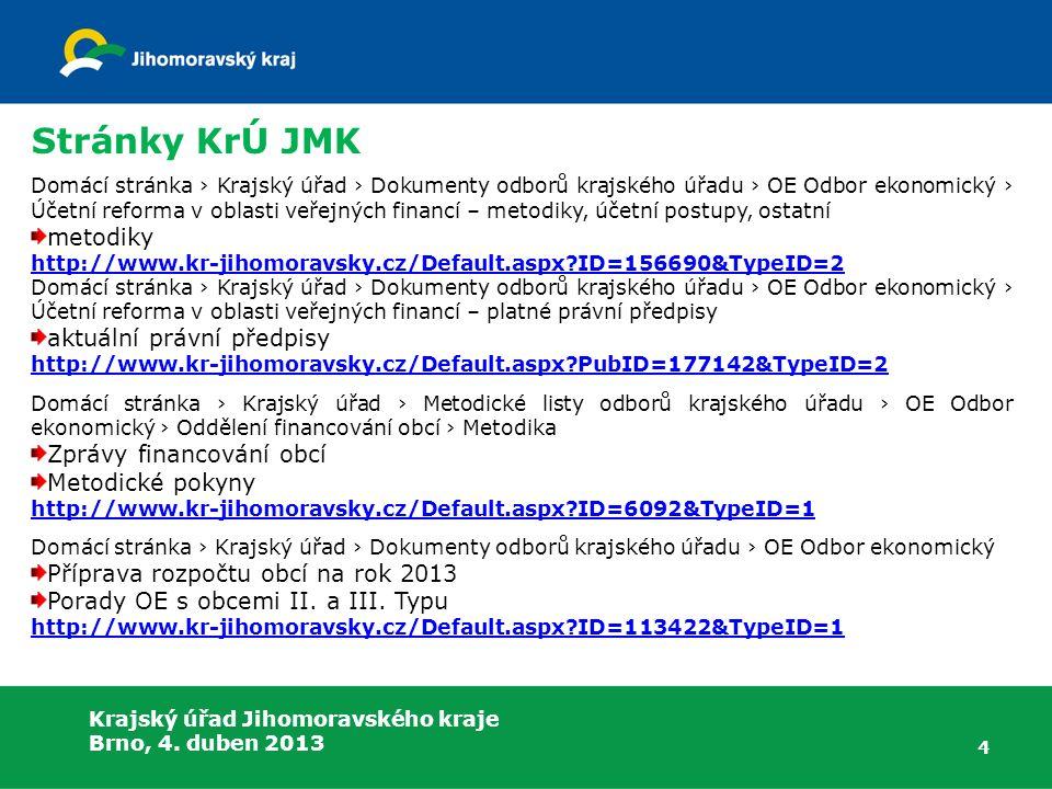 5 Portál MFČR – Státní pokladna kontrolní vazby aktuální XSD schémata Metodika tvorby PAP otázky a odpovědi k účetním metodám a postupům informace ke schvalování účetních závěrek http://www.statnipokladna.cz/cs/ Portál České daňové správy legislativa a metodika k DPH http://cds.mfcr.cz/cps/rde/xchg/cds/xsl/index.html?year=0 Krajský úřad Jihomoravského kraje Brno, 4.