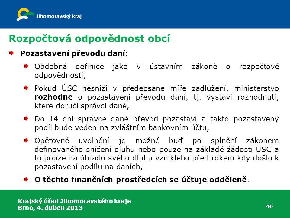 Rozpočtová odpovědnost obcí Pozastavení převodu daní: Obdobná definice jako v ústavním zákoně o rozpočtové odpovědnosti, Pokud ÚSC nesníží v předepsan