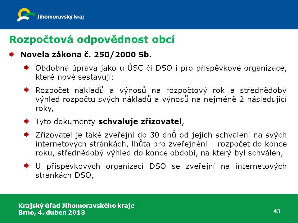 Rozpočtová odpovědnost obcí Novela zákona č. 250/2000 Sb. Obdobná úprava jako u ÚSC či DSO i pro příspěvkové organizace, které nově sestavují: Rozpoče