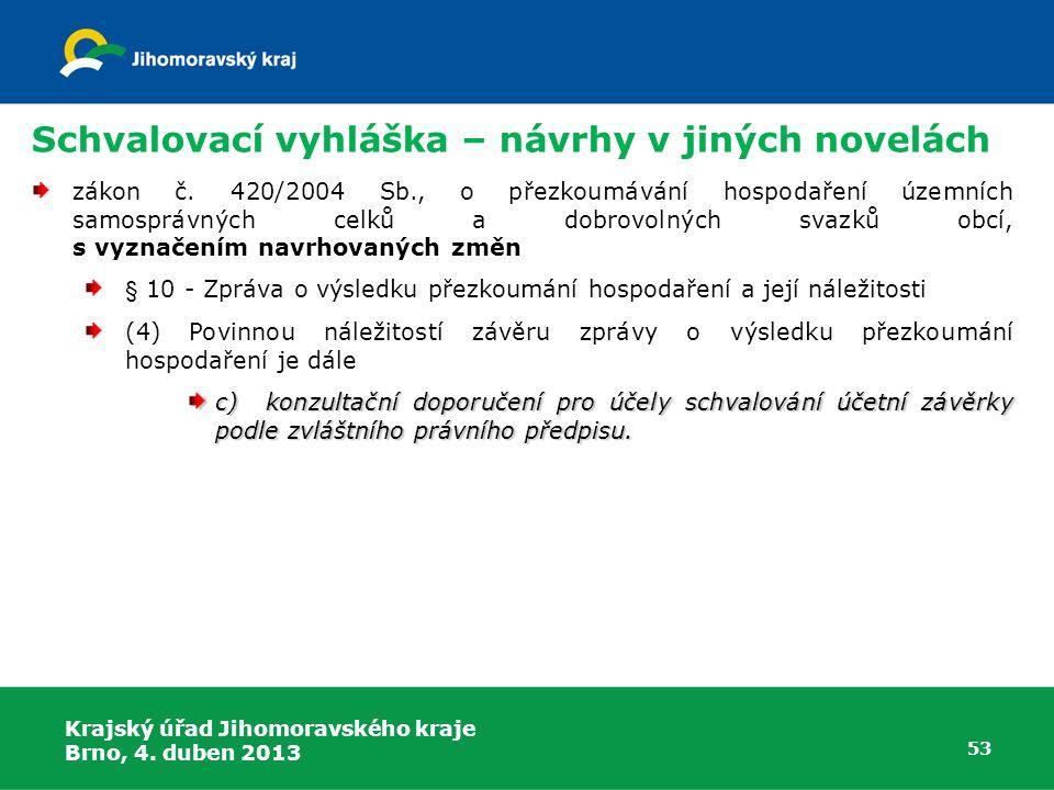Schvalovací vyhláška – návrhy v jiných novelách zákon č. 420/2004 Sb., o přezkoumávání hospodaření územních samosprávných celků a dobrovolných svazků