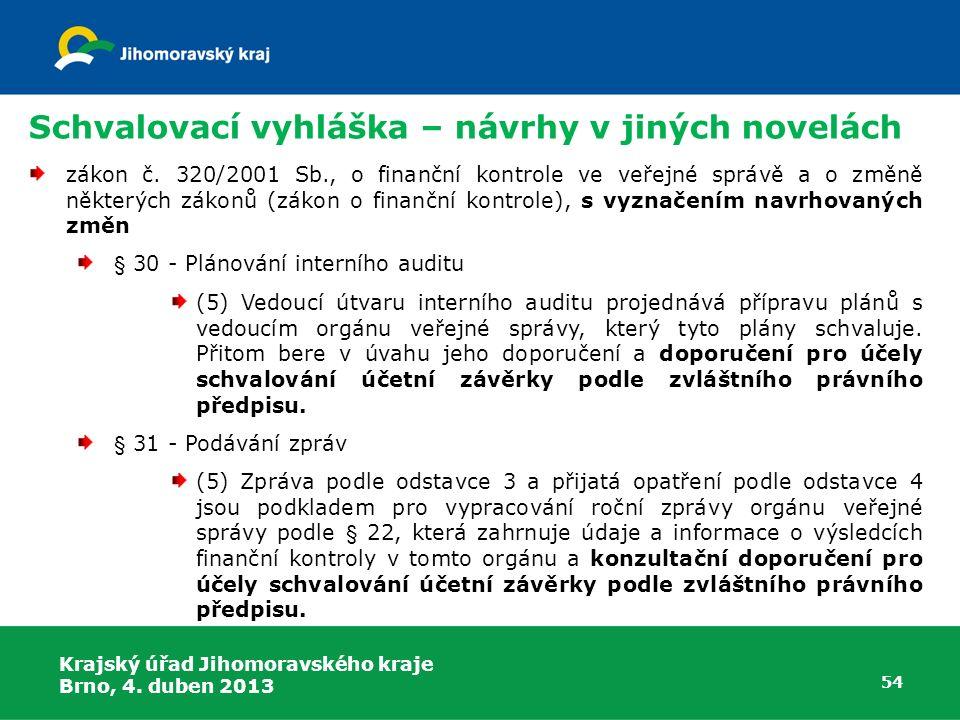Schvalovací vyhláška – návrhy v jiných novelách zákon č. 320/2001 Sb., o finanční kontrole ve veřejné správě a o změně některých zákonů (zákon o finan