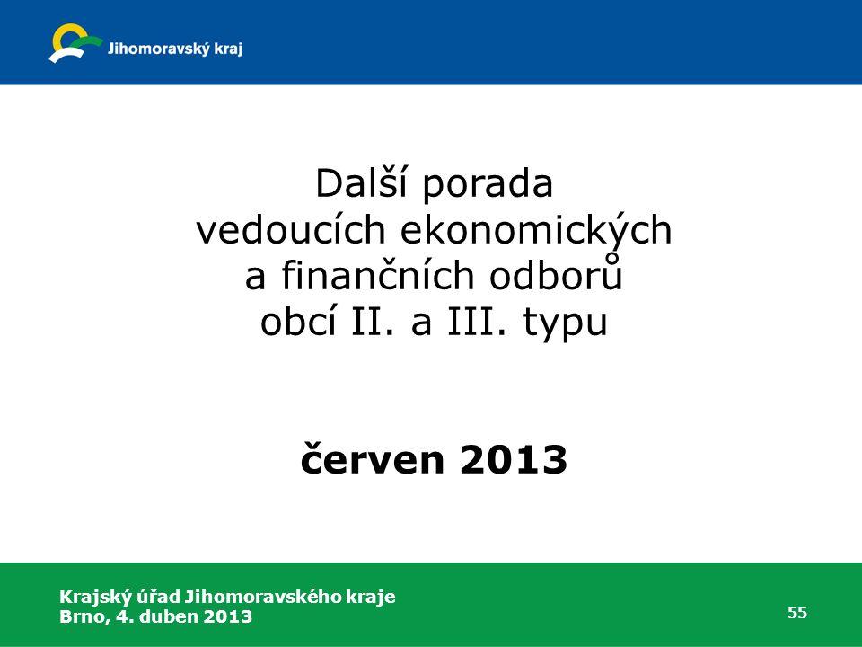 Další porada vedoucích ekonomických a finančních odborů obcí II. a III. typu červen 2013 55 Krajský úřad Jihomoravského kraje Brno, 4. duben 2013