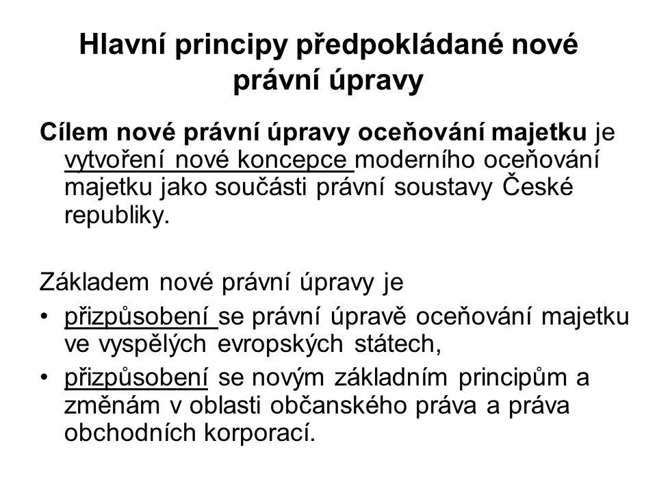 Hlavní principy předpokládané nové právní úpravy Cílem nové právní úpravy oceňování majetku je vytvoření nové koncepce moderního oceňování majetku jako součásti právní soustavy České republiky.