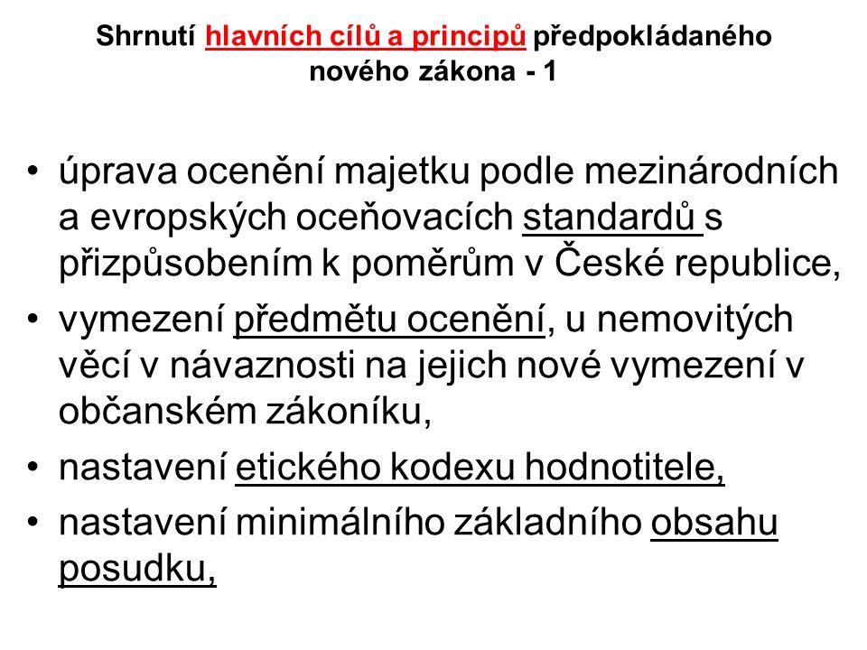 Shrnutí hlavních cílů a principů předpokládaného nového zákona - 1 úprava ocenění majetku podle mezinárodních a evropských oceňovacích standardů s přizpůsobením k poměrům v České republice, vymezení předmětu ocenění, u nemovitých věcí v návaznosti na jejich nové vymezení v občanském zákoníku, nastavení etického kodexu hodnotitele, nastavení minimálního základního obsahu posudku,