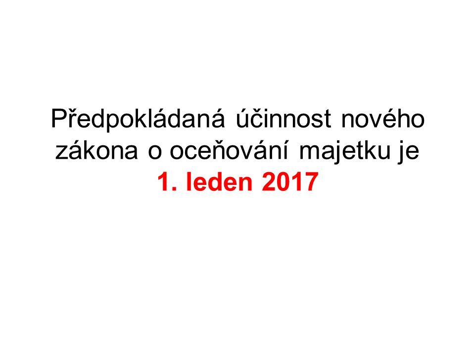 Předpokládaná účinnost nového zákona o oceňování majetku je 1. leden 2017