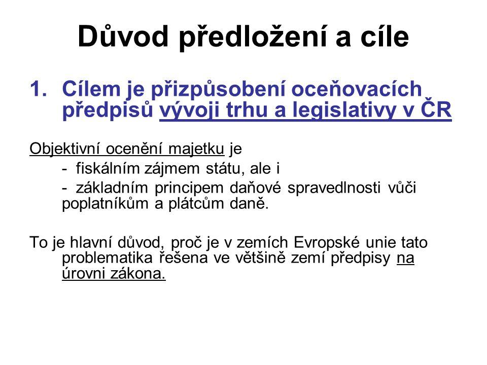 Důvod předložení a cíle 1.Cílem je přizpůsobení oceňovacích předpisů vývoji trhu a legislativy v ČR Objektivní ocenění majetku je - fiskálním zájmem státu, ale i - základním principem daňové spravedlnosti vůči poplatníkům a plátcům daně.