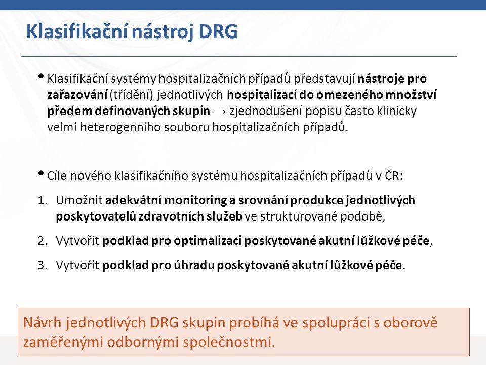 18 Klasifikační nástroj DRG Návrh jednotlivých DRG skupin probíhá ve spolupráci s oborově zaměřenými odbornými společnostmi. Klasifikační systémy hosp