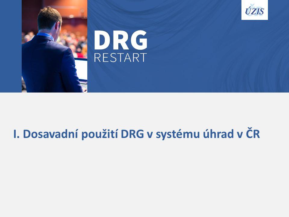 I. Dosavadní použití DRG v systému úhrad v ČR