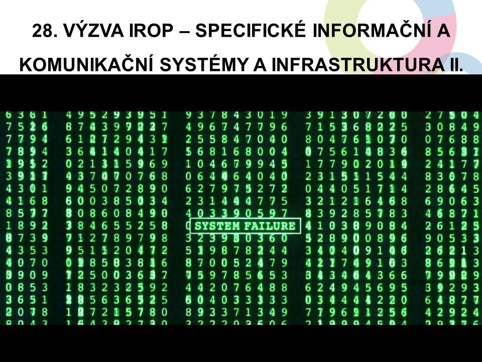 28. VÝZVA IROP – SPECIFICKÉ INFORMAČNÍ A KOMUNIKAČNÍ SYSTÉMY A INFRASTRUKTURA II. 18