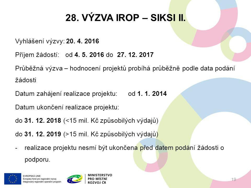 28.VÝZVA IROP – SIKSI II. Vyhlášení výzvy: 20. 4.