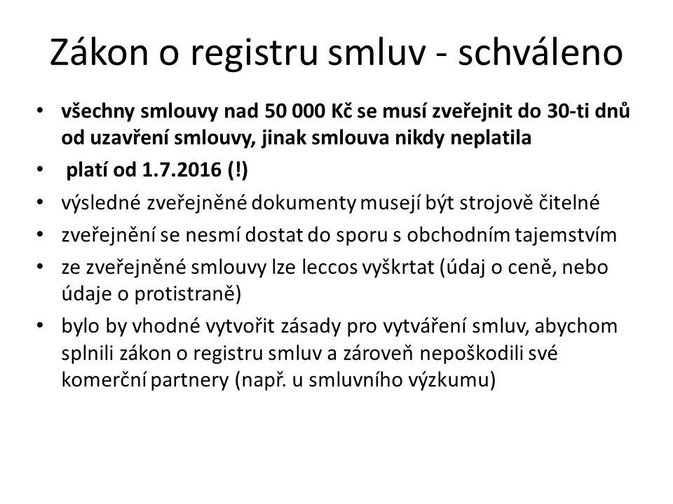 Zákon o registru smluv - schváleno všechny smlouvy nad 50 000 Kč se musí zveřejnit do 30-ti dnů od uzavření smlouvy, jinak smlouva nikdy neplatila platí od 1.7.2016 (!) výsledné zveřejněné dokumenty musejí být strojově čitelné zveřejnění se nesmí dostat do sporu s obchodním tajemstvím ze zveřejněné smlouvy lze leccos vyškrtat (údaj o ceně, nebo údaje o protistraně) bylo by vhodné vytvořit zásady pro vytváření smluv, abychom splnili zákon o registru smluv a zároveň nepoškodili své komerční partnery (např.