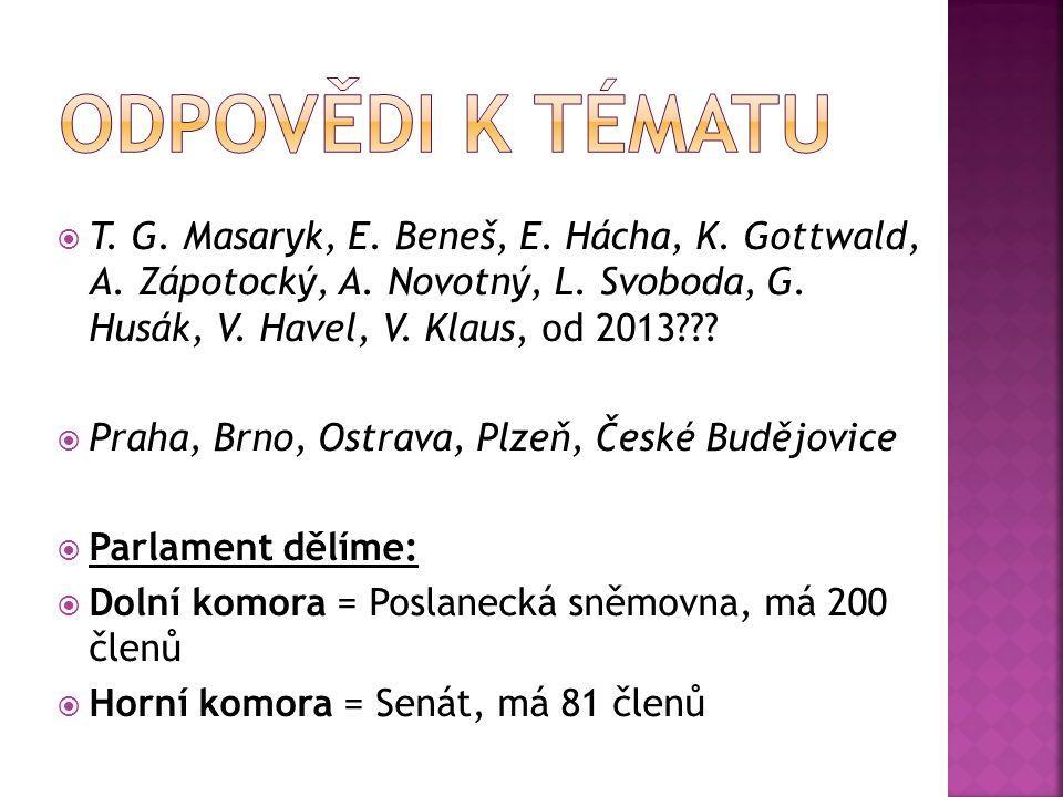 T. G. Masaryk, E. Beneš, E. Hácha, K. Gottwald, A.
