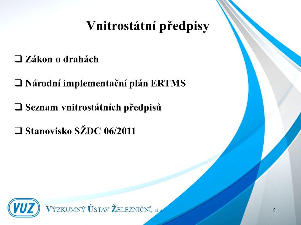 Vnitrostátní předpisy V ÝZKUMNÝ Ú STAV Ž ELEZNIČNÍ, a.s.