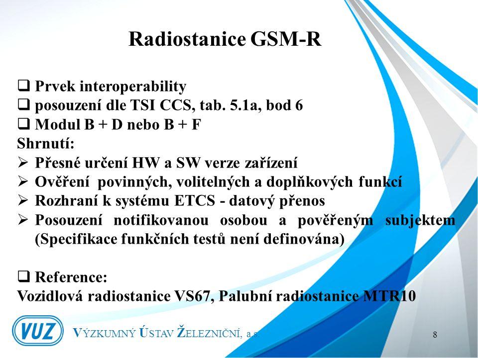 V ÝZKUMNÝ Ú STAV Ž ELEZNIČNÍ, a.s. 8  Prvek interoperability  posouzení dle TSI CCS, tab.