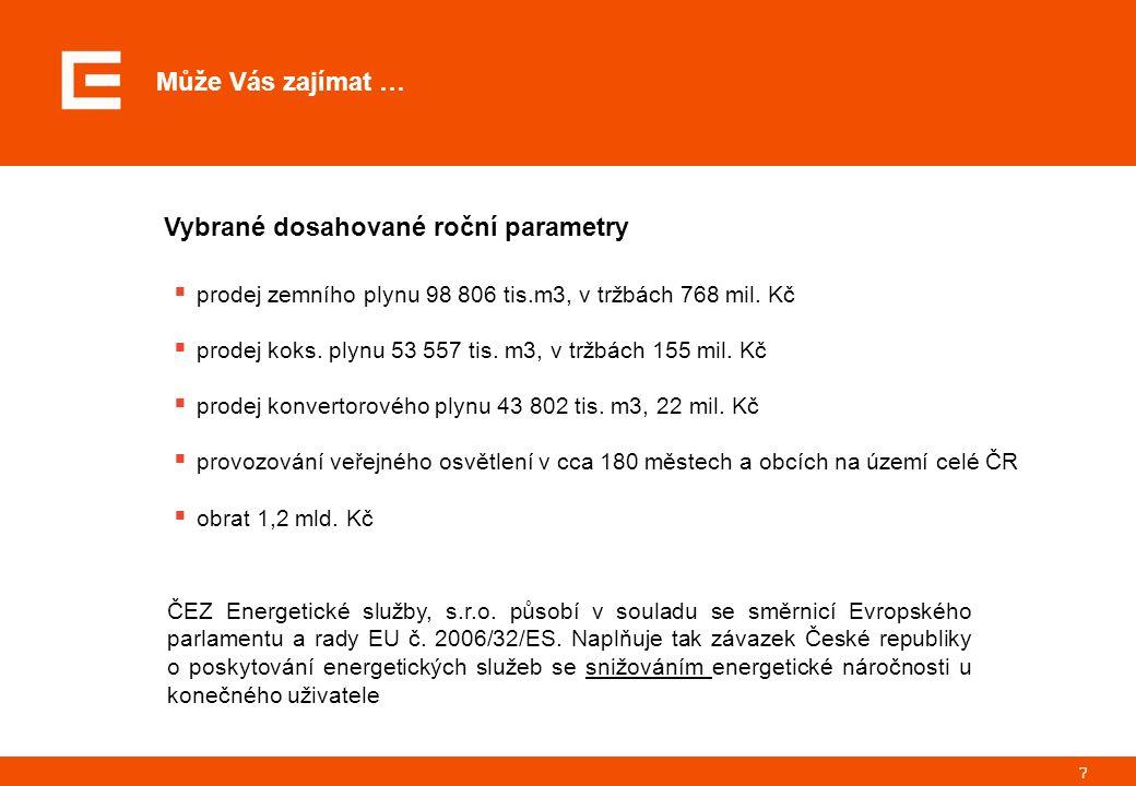 7 Může Vás zajímat … Vybrané dosahované roční parametry  prodej zemního plynu 98 806 tis.m3, v tržbách 768 mil.