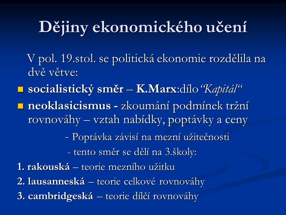 Dějiny ekonomického učení V pol. 19.stol. se politická ekonomie rozdělila na dvě větve: V pol.