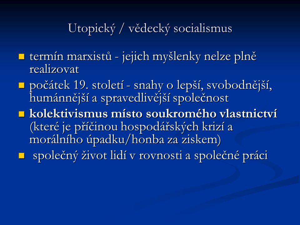 Utopický / vědecký socialismus termín marxistů - jejich myšlenky nelze plně realizovat termín marxistů - jejich myšlenky nelze plně realizovat počátek 19.