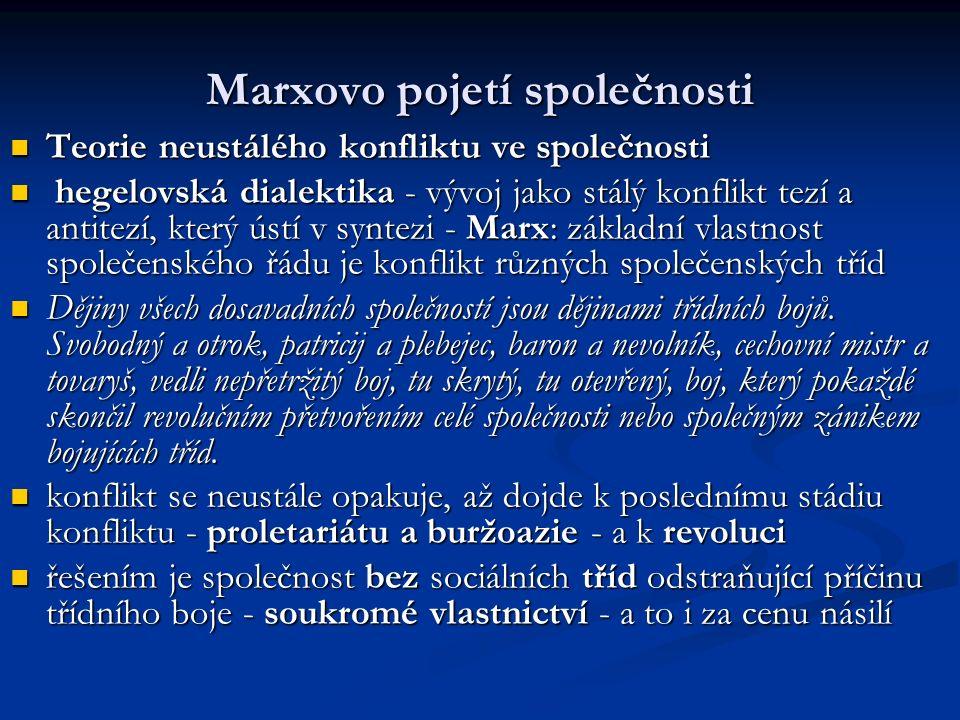 Marxovo pojetí společnosti Teorie neustálého konfliktu ve společnosti Teorie neustálého konfliktu ve společnosti hegelovská dialektika - vývoj jako stálý konflikt tezí a antitezí, který ústí v syntezi - Marx: základní vlastnost společenského řádu je konflikt různých společenských tříd hegelovská dialektika - vývoj jako stálý konflikt tezí a antitezí, který ústí v syntezi - Marx: základní vlastnost společenského řádu je konflikt různých společenských tříd Dějiny všech dosavadních společností jsou dějinami třídních bojů.