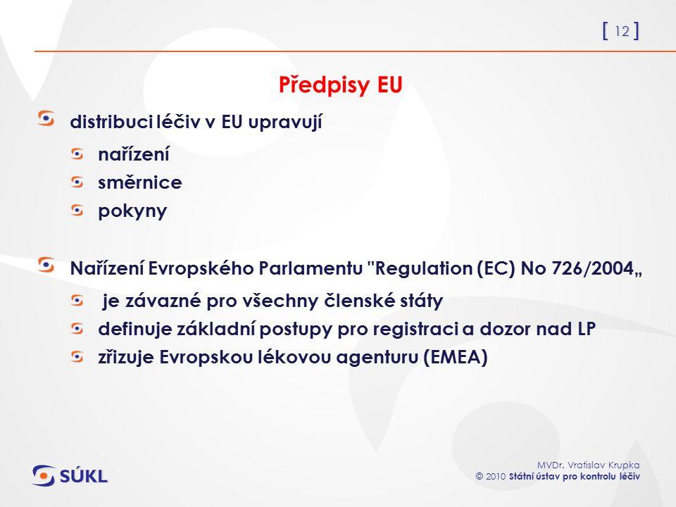 [ 12 ] MVDr. Vratislav Krupka © 2010 Státní ústav pro kontrolu léčiv Předpisy EU distribuci léčiv v EU upravují nařízení směrnice pokyny Nařízení Evro