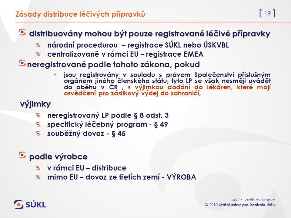[ 19 ] MVDr. Vratislav Krupka © 2010 Státní ústav pro kontrolu léčiv Zásady distribuce léčivých přípravků distribuovány mohou být pouze registrované l