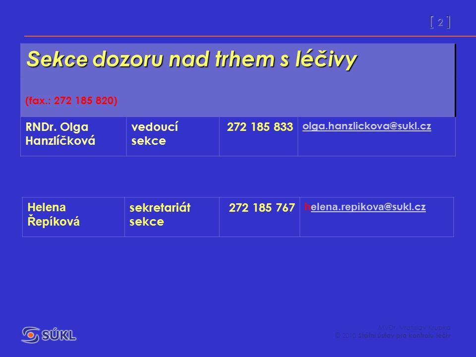 [ 2 ] MVDr. Vratislav Krupka © 2010 Státní ústav pro kontrolu léčiv Sekce dozoru nad trhem s léčivy (fax.: 272 185 820) RNDr. Olga Hanzlíčková vedoucí