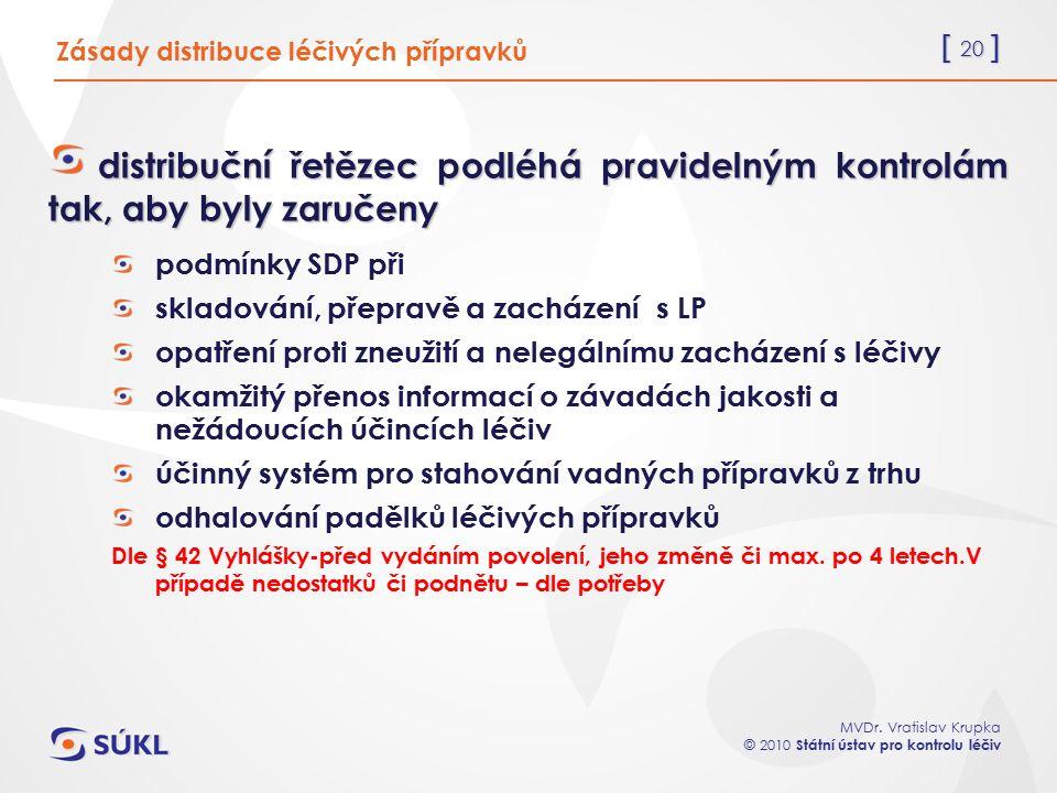 [ 20 ] MVDr. Vratislav Krupka © 2010 Státní ústav pro kontrolu léčiv Zásady distribuce léčivých přípravků distribuční řetězec podléhá pravidelným kont