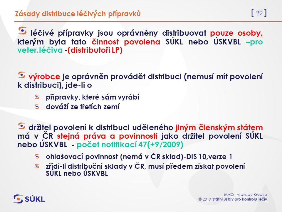 [ 22 ] MVDr. Vratislav Krupka © 2010 Státní ústav pro kontrolu léčiv Zásady distribuce léčivých přípravků léčivé přípravky jsou oprávněny distribuovat