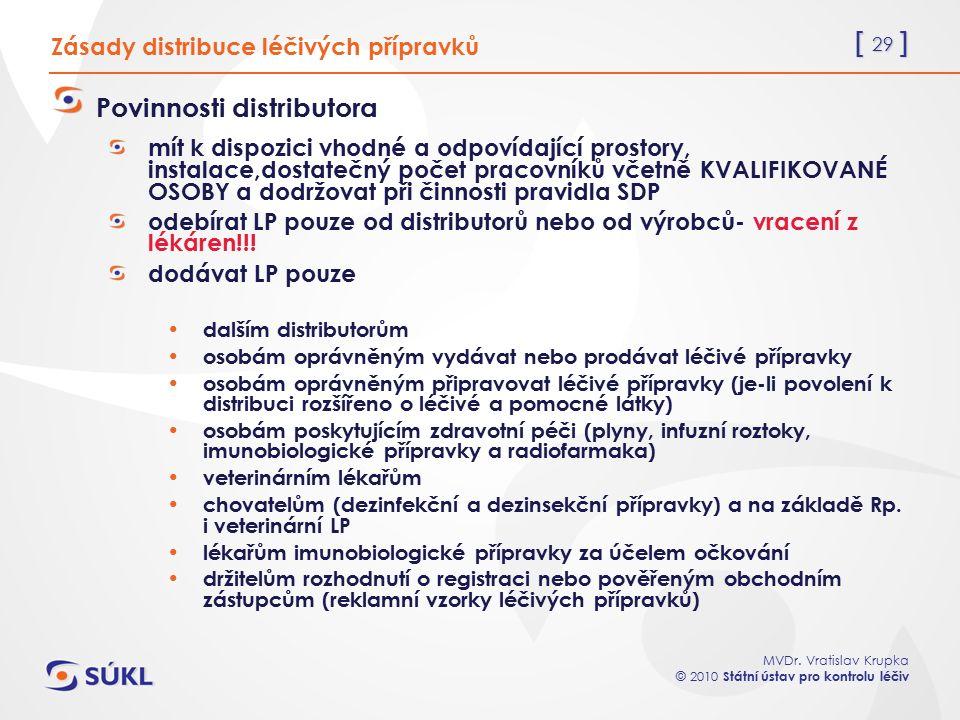 [ 29 ] MVDr. Vratislav Krupka © 2010 Státní ústav pro kontrolu léčiv Zásady distribuce léčivých přípravků Povinnosti distributora mít k dispozici vhod