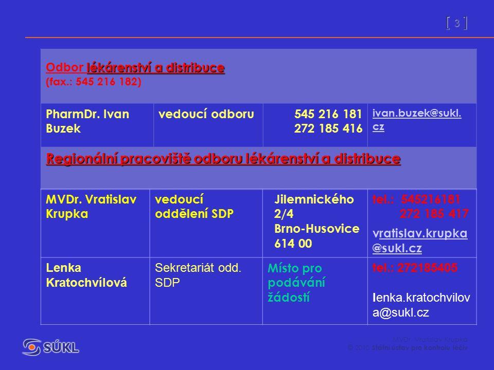[ 3 ] MVDr. Vratislav Krupka © 2010 Státní ústav pro kontrolu léčiv lékárenství a distribuce Odbor lékárenství a distribuce (fax.: 545 216 182) PharmD