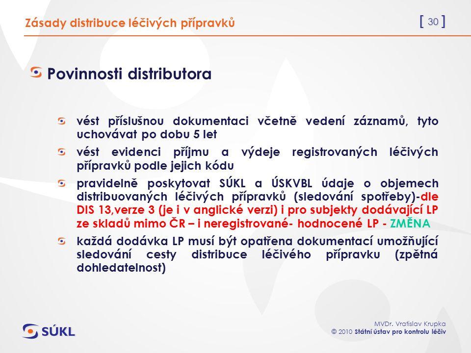 [ 30 ] MVDr. Vratislav Krupka © 2010 Státní ústav pro kontrolu léčiv Zásady distribuce léčivých přípravků Povinnosti distributora vést příslušnou doku