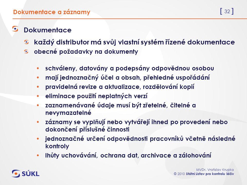 [ 32 ] MVDr. Vratislav Krupka © 2010 Státní ústav pro kontrolu léčiv Dokumentace a záznamy Dokumentace každý distributor má svůj vlastní systém řízené