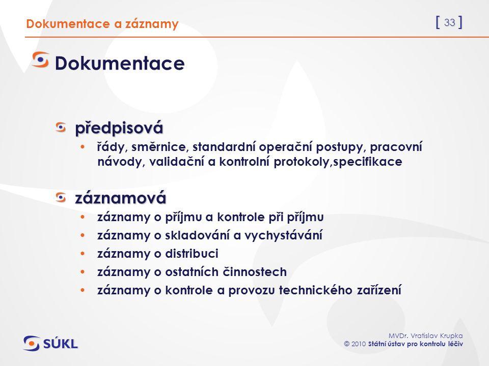 [ 33 ] MVDr. Vratislav Krupka © 2010 Státní ústav pro kontrolu léčiv Dokumentace a záznamy Dokumentacepředpisová řády, směrnice, standardní operační p