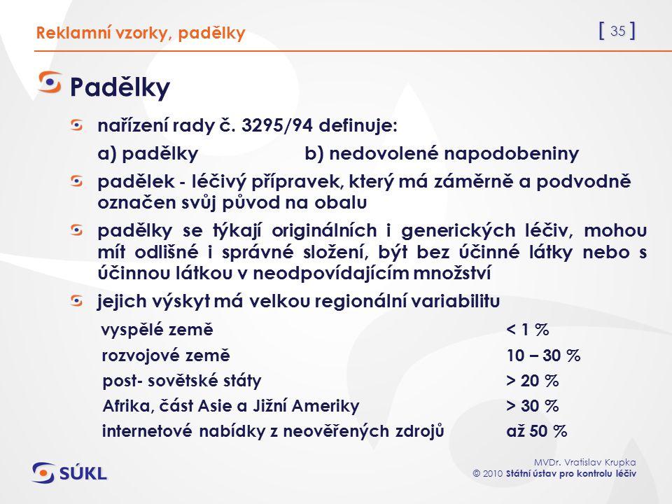 [ 35 ] MVDr. Vratislav Krupka © 2010 Státní ústav pro kontrolu léčiv Padělky nařízení rady č. 3295/94 definuje: a) padělkyb) nedovolené napodobeniny p