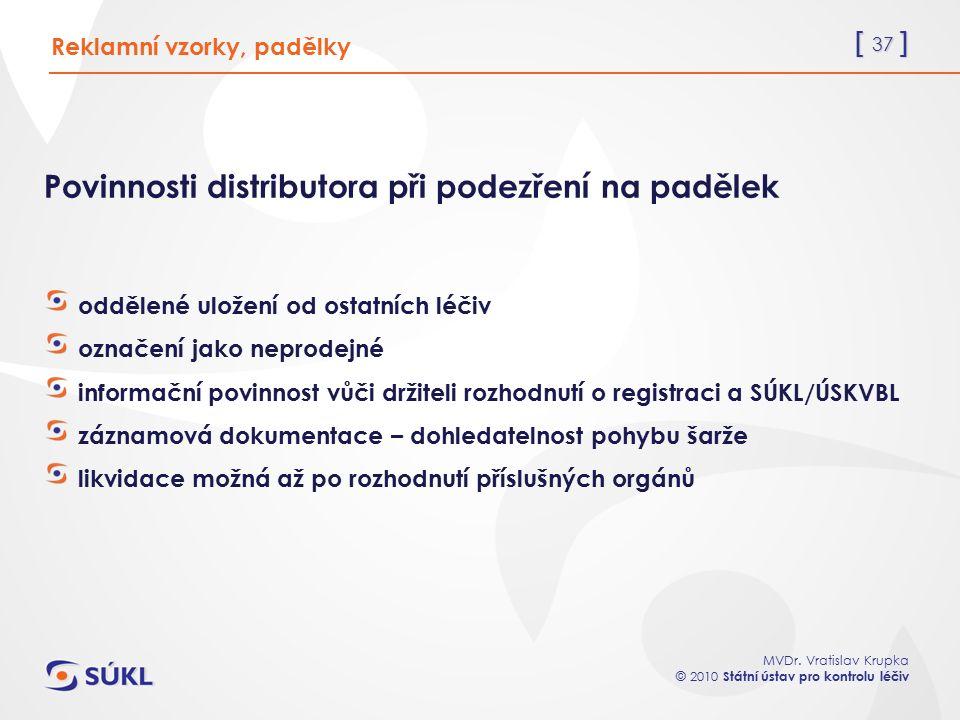 [ 37 ] MVDr. Vratislav Krupka © 2010 Státní ústav pro kontrolu léčiv Reklamní vzorky, padělky Povinnosti distributora při podezření na padělek oddělen