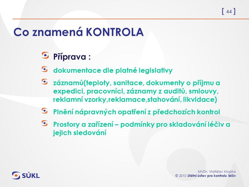 [ 44 ] MVDr. Vratislav Krupka © 2010 Státní ústav pro kontrolu léčiv Co znamená KONTROLA Příprava : dokumentace dle platné legislativy záznamů(teploty