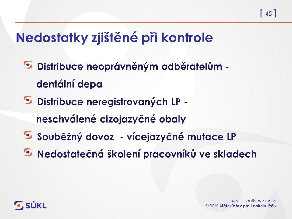 [ 45 ] MVDr. Vratislav Krupka © 2010 Státní ústav pro kontrolu léčiv Nedostatky zjištěné při kontrole Distribuce neoprávněným odběratelům - dentální d