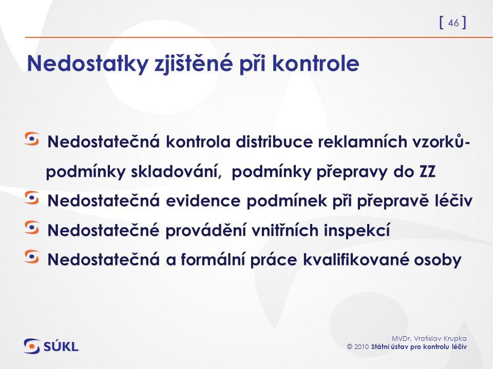 [ 46 ] MVDr. Vratislav Krupka © 2010 Státní ústav pro kontrolu léčiv Nedostatky zjištěné při kontrole Nedostatečná kontrola distribuce reklamních vzor