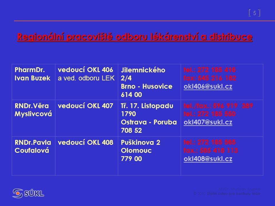 [ 5 ] MVDr. Vratislav Krupka © 2010 Státní ústav pro kontrolu léčiv PharmDr. Ivan Buzek vedoucí OKL 406 a ved. odboru LEK Jilemnického 2/4 Brno - Huso