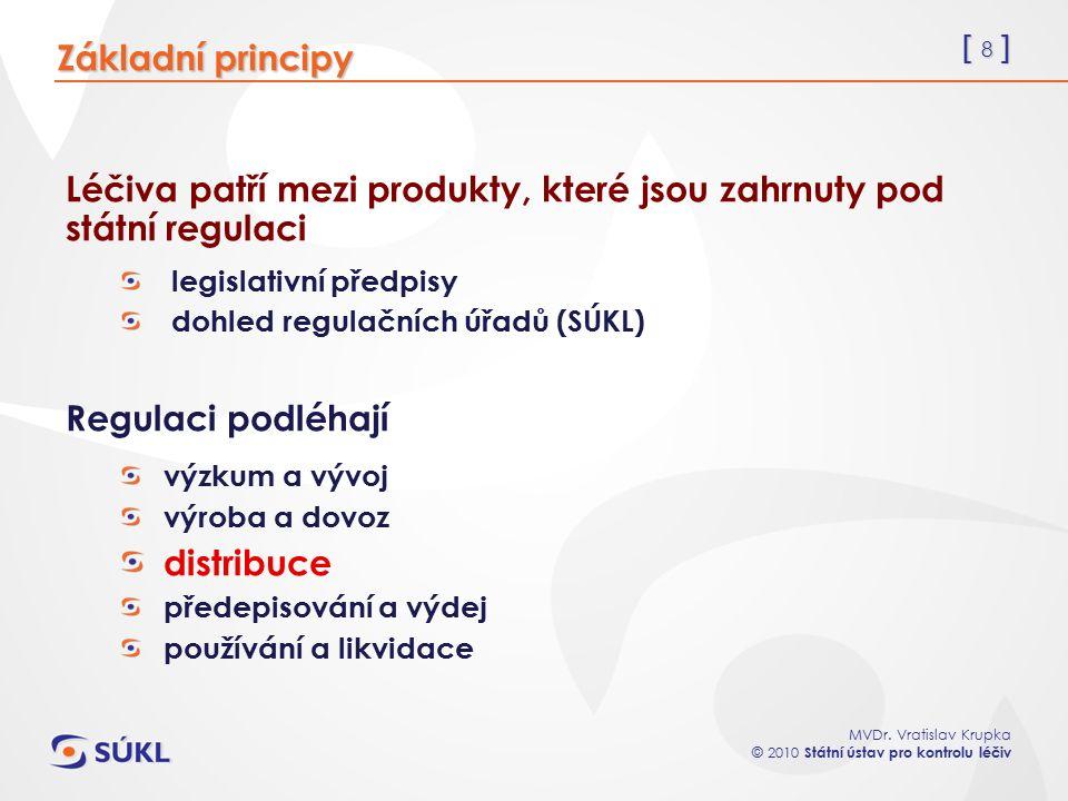 [ 8 ] MVDr. Vratislav Krupka © 2010 Státní ústav pro kontrolu léčiv Léčiva patří mezi produkty, které jsou zahrnuty pod státní regulaci legislativní p