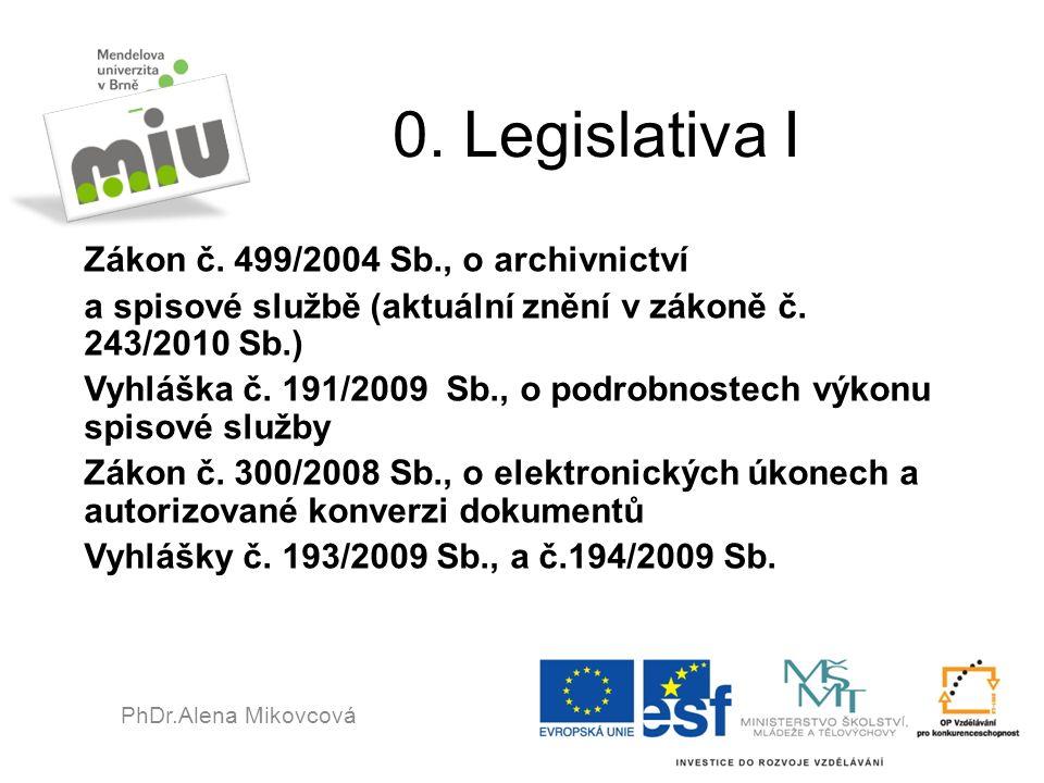 0. Legislativa I Zákon č. 499/2004 Sb., o archivnictví a spisové službě (aktuální znění v zákoně č. 243/2010 Sb.) Vyhláška č. 191/2009 Sb., o podrobno